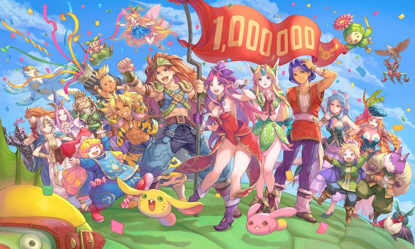 seiken densetsu 3 Trials of Mana remake sales top 1 million commemoration illustration haccan dc5d7