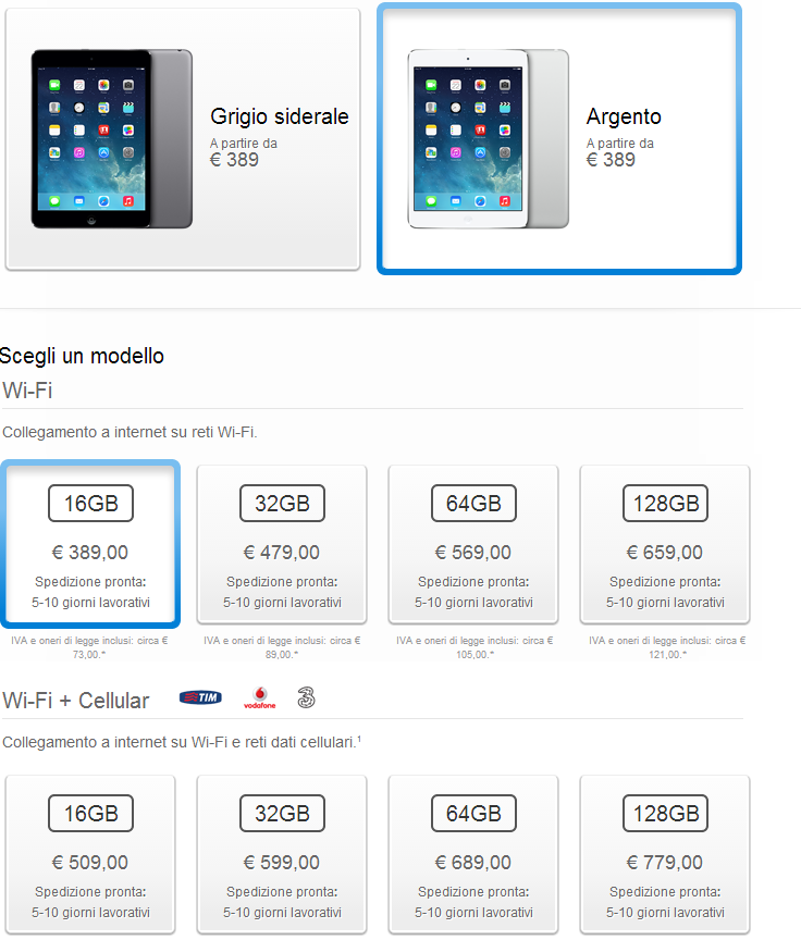 iPad Mini Retina finalmente disponibile per l'ordine sul sito Apple!