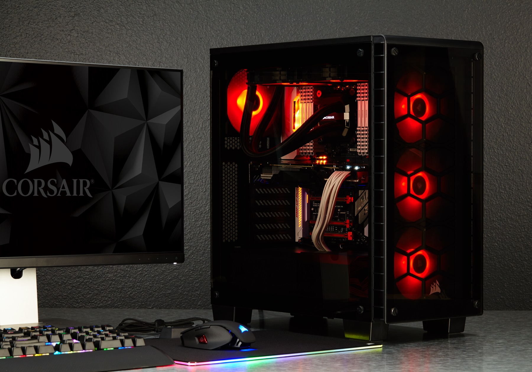 Corsair svela crystal 460x polaris mm800 e ventole hd120 e sp120 rgb