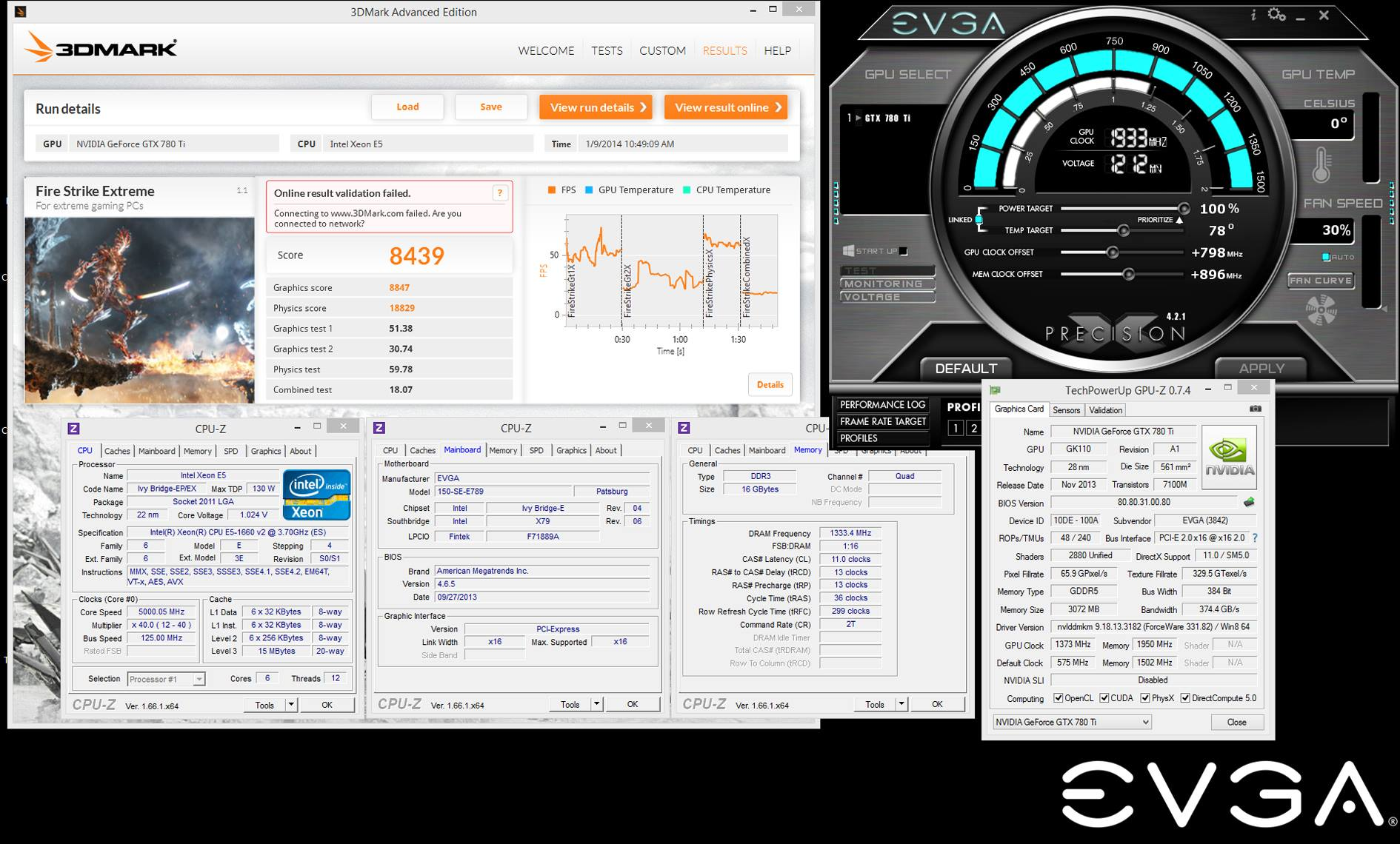 EVGA GTX 780 Ti Classified kingpin 3dmark