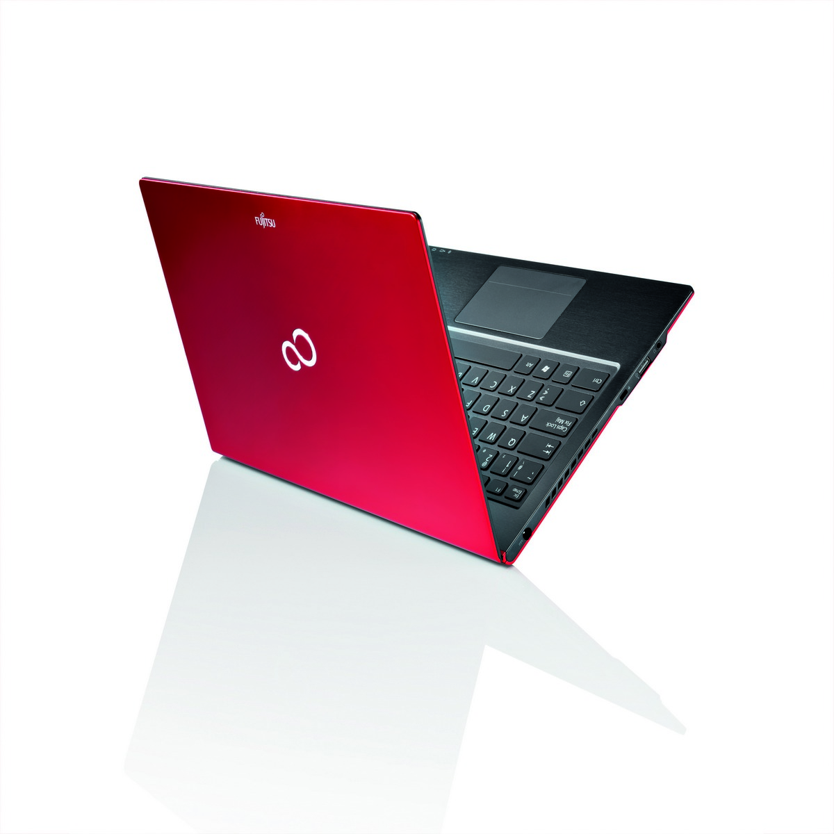 28239 LIFEBOOK U772  red   rear view  with reflection