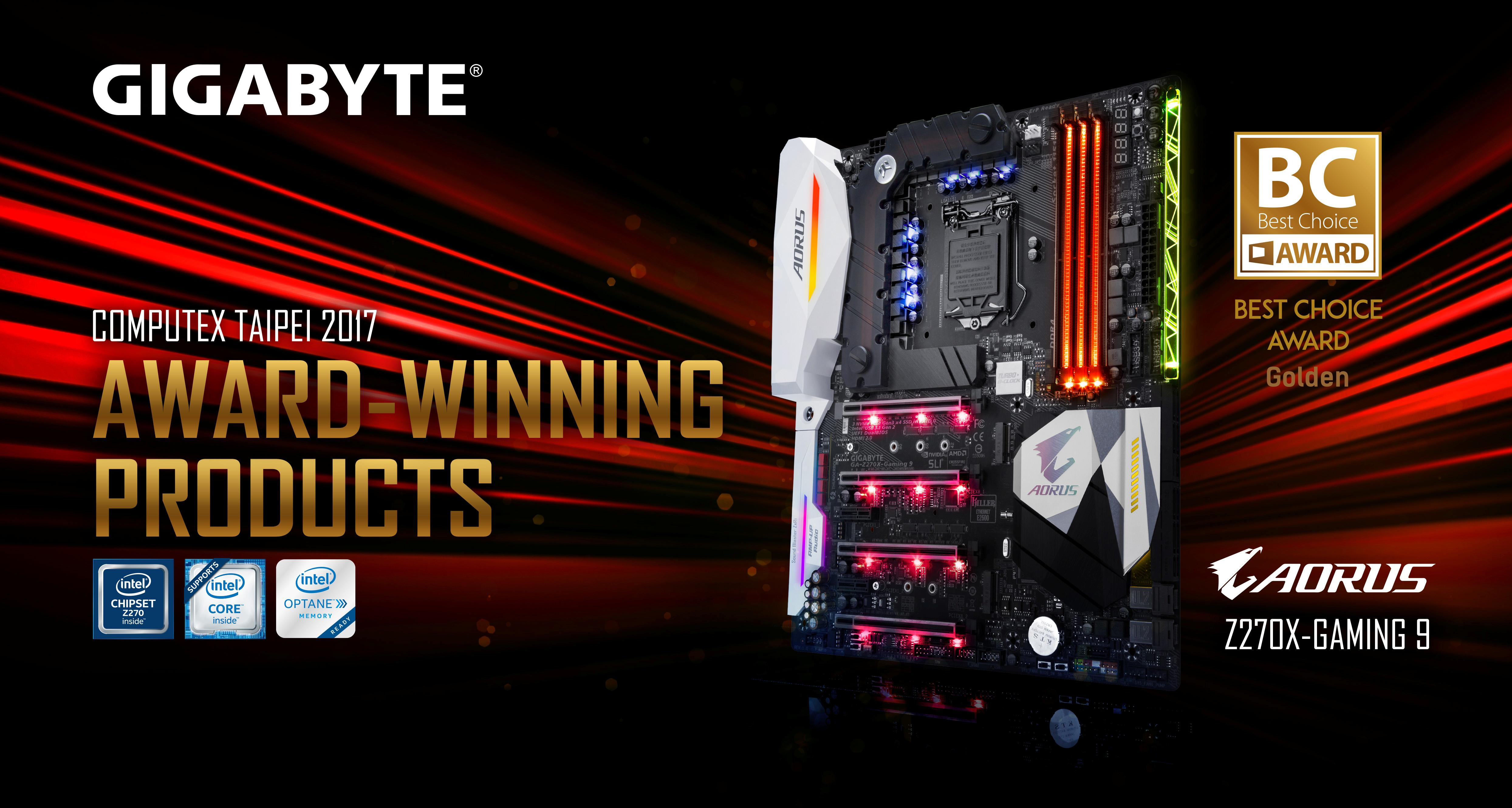 GIGABYTE AORUS Z270X-Gaming 9 Vince il  Computex 2017 Best Choice Gold Award