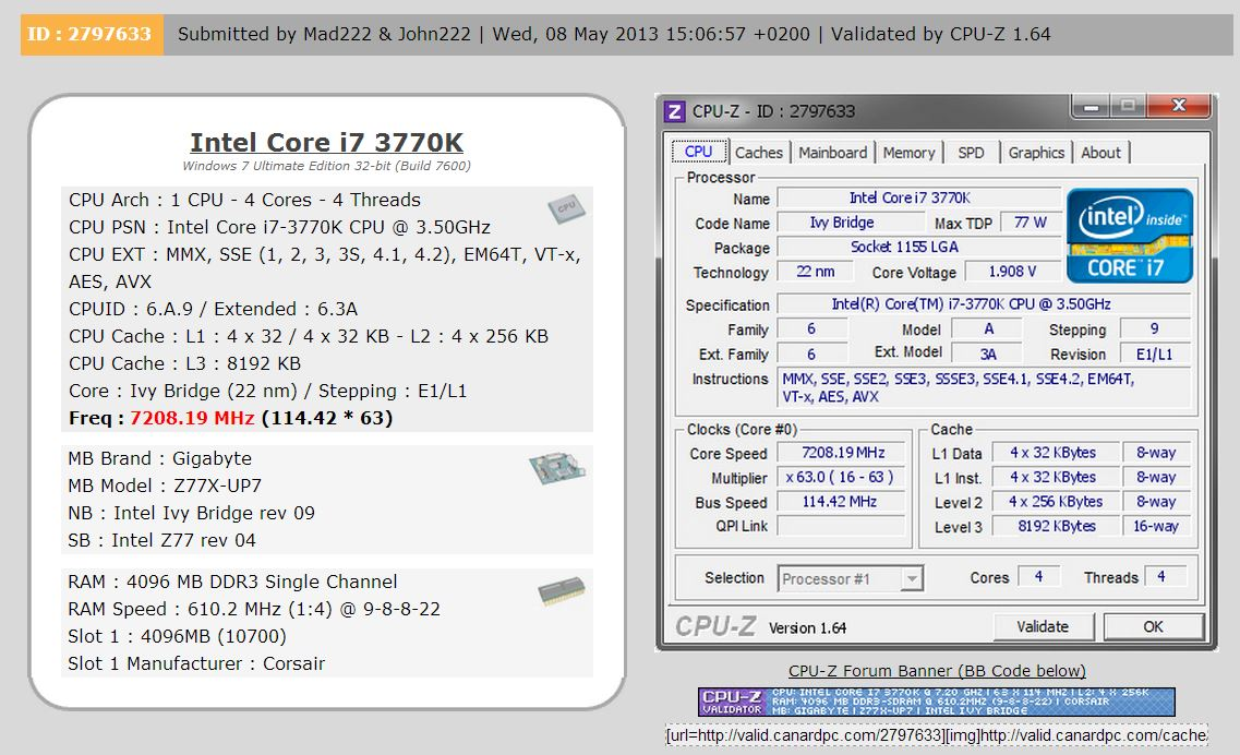 Intel Core i7-3770K 7.2 GHz