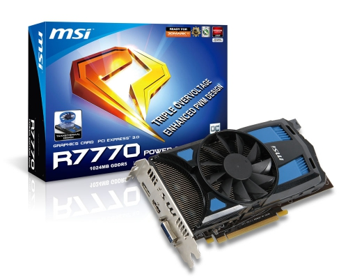 MSI R7770 Power Edition 1GD5/OC, con sistema di dissipazione configurabile