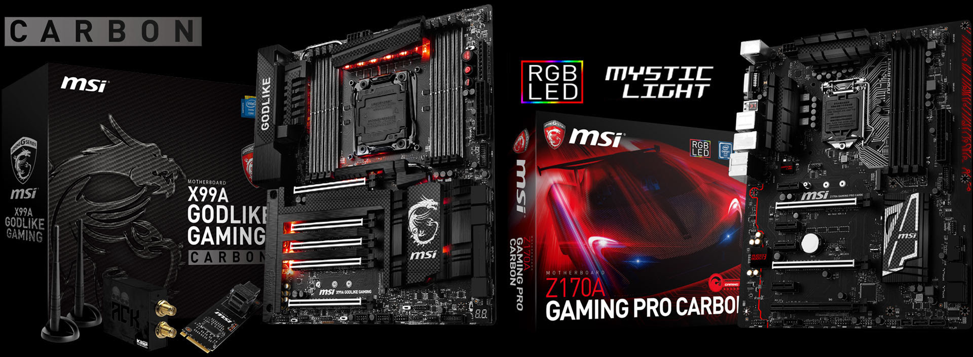 MSI Z170A GAMING PRO e X99A GODLIKE GAMING in edizione Carbon
