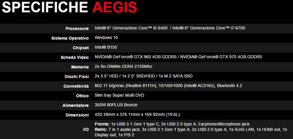 specifiche MSI Aegis