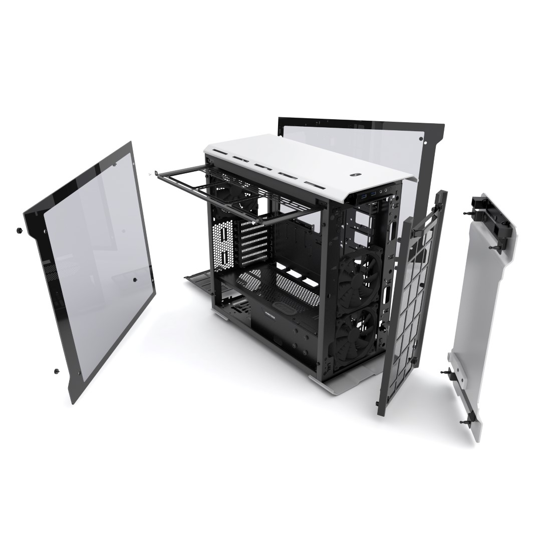 EVOLV ATX Glass Panel Silver Exploded view 2k